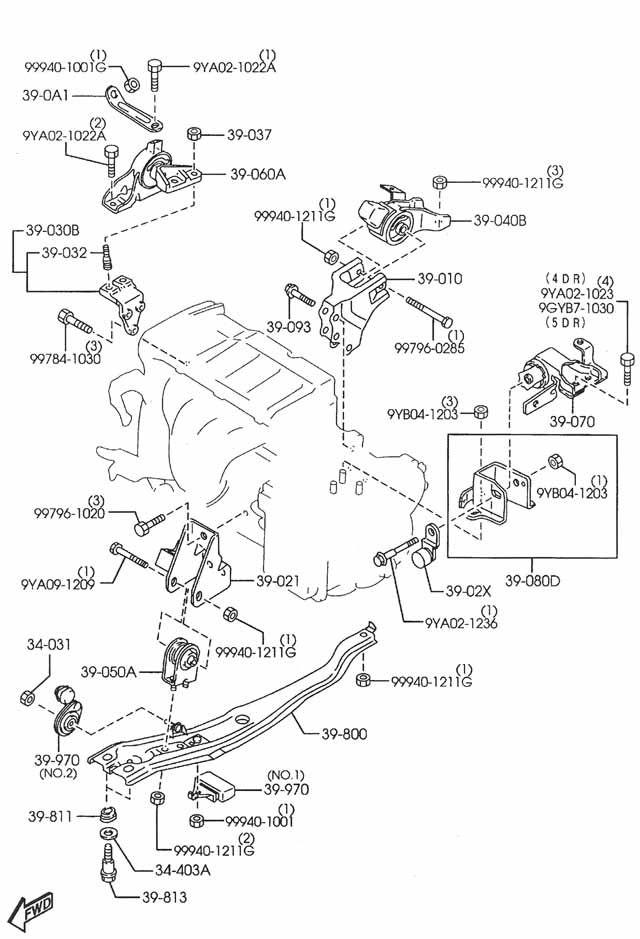 2002 mazda protege motor mount