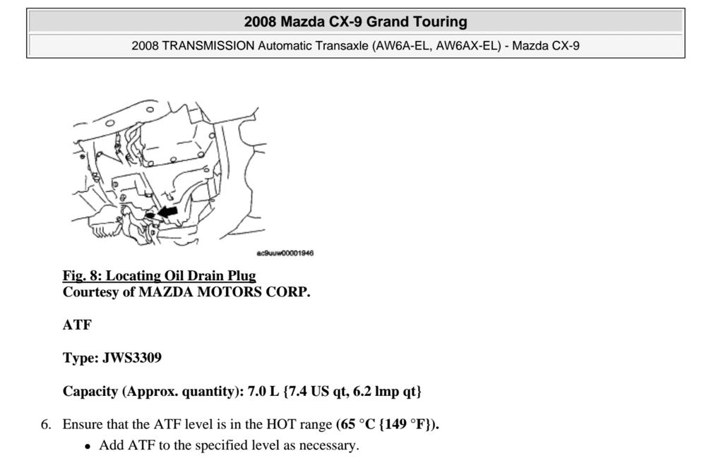 2009 cx-9 transmission filter change??
