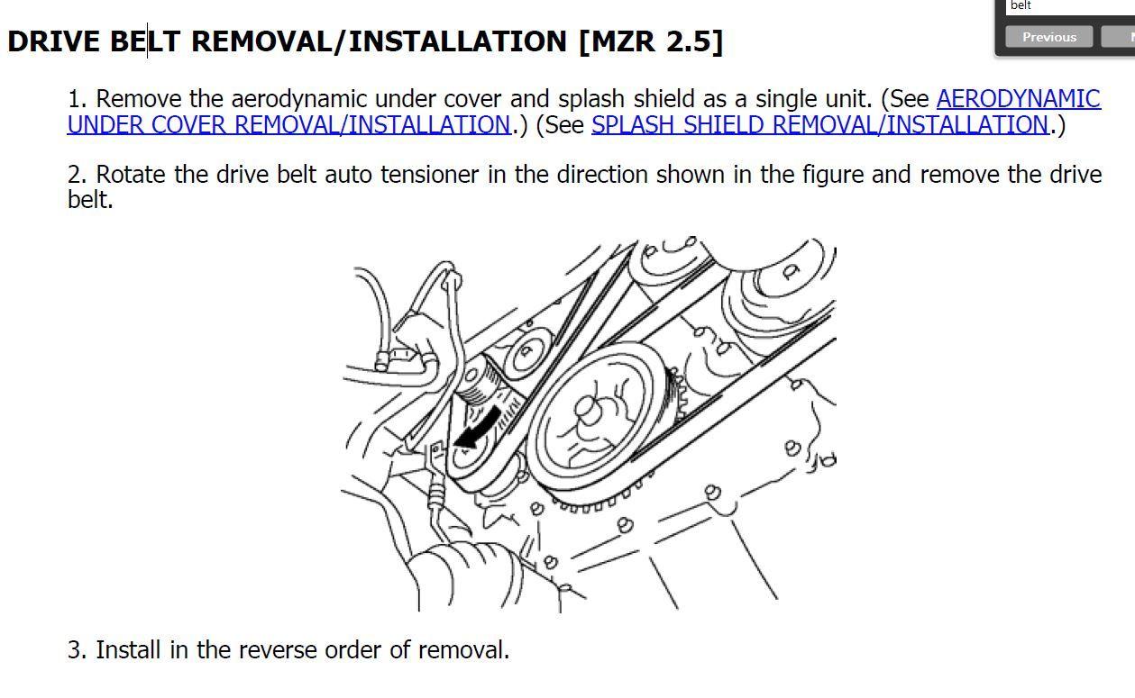 12 Mazda5 Serpentine Drive Belt 2009 Mazda 5 Engine Diagram