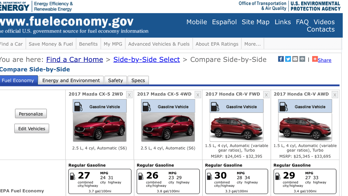 Official 2017 2nd Gen Cx 5 Epa Fuel Economy Ratings Are Out