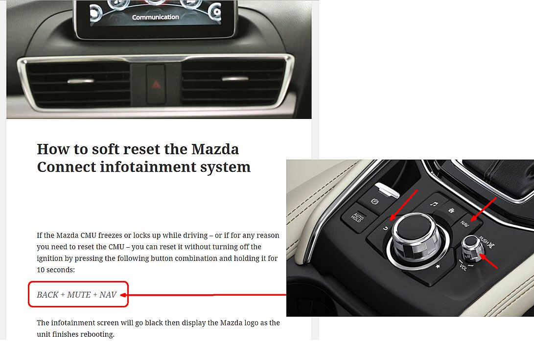 soft reset of Mazda infotainment system