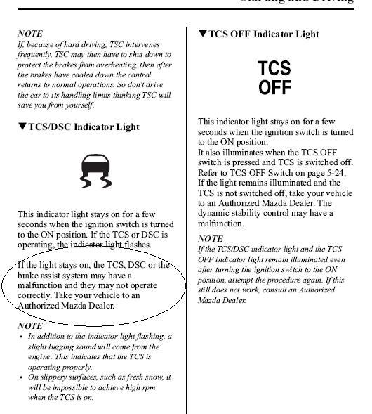 Tcs Off Indicator Light